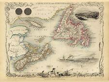 Old Vintage Map of Nova Scotia and Newfoundland richly illustrated Tallis 1851