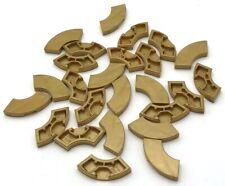 Lego 25 New Pearl Gold Tiles Round Corner 2 x 2 Macaroni Pieces