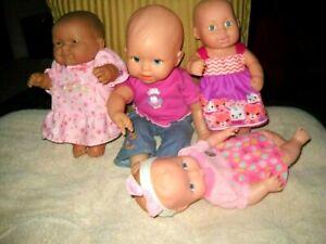 "4 ADORABLE BABY DOLL LOT~DRESSED CUTE, BERENGUER, LAUER, MATTEL~10-14"" PRESCHOOL"