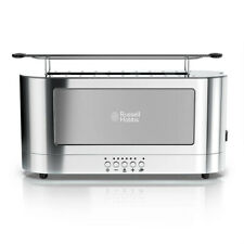 Russell Hobbs Trl9300Gyr Stainless Steel 2 Slice Long Toaster Glass Accent In