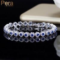Natural Blue Cubic Zircon Crystal Stone Silver Charm Bracelet Xmas Gifts For Her