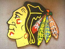 LICENSE PLATE CHICAGO BLACKHAWKS LOGO SIGN!!!  ONE OF A KIND EMBLEM!!!!!