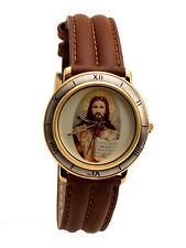 SWANSON: JESUS ANALOG LEATHER BAND WATCH