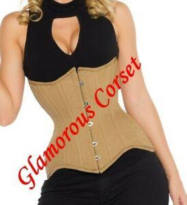"Curvy Corset for Waist Training 100% Cotton Steel Boned Underbust Size 28"""