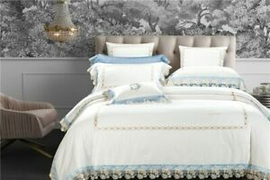 2021 New Lace Edge Duvet Cover Embroidery Egyptian Cotton Bedding Set White New