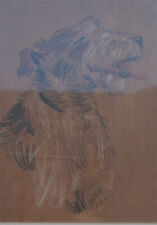Antique / Old Animal Pastel Painting Portrail of a Dog