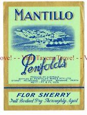 Unused 1940s AUSTRALIA BSydney PENFOLDS MANTILLO FLOR SHERRY WIne Label