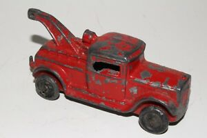 1930's Barclay Slush Cast Metal Wrecker Truck with Trailer Hitch, Original