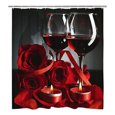 Shower Curtain Rose Red Wine Romantic Lovers Waterproof Polyester Bath Curtains