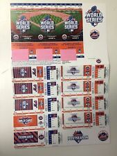 2015 NEW YORK METS SEASON TICKET WORLD SERIES PLAYOFF STRIP SHEET STUB KC ROYALS