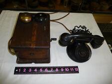 VINTAGE WESTERN ELECTRIC MAGNETO HAND CRANK TELEPHONE & RINGER BOX OAK