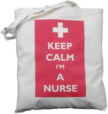 KEEP CALM I'M A NURSE - NATURAL COTTON SHOULDER BAG - Tote - NURSING, hospital