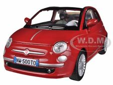 FIAT NUOVA 500 RED CABRIO 1/24 DIECAST CAR MODEL BY MOTORMAX 73374