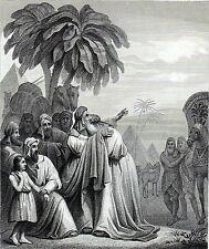 Antique religious print : Jacob meets Joseph Egypt,Genesis ,Jakob en Jozef 1864