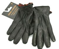 Stewart of Scotland Black Plaid Fleece Lined Genuine Leather 5 Finger Gloves