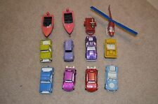 Lot of eleven (11) Tootsie Toy vehicles - Cars, boats, & helicopter 1970s