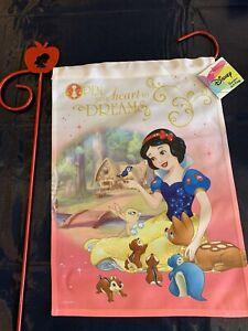 "Disney Snow White Garden Flag + 39"" Apple Metal Stake NEW dwarfs animals cottage"