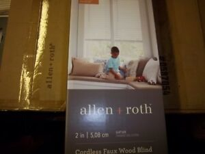"""NEW Allen & Roth 2"""" Cordless White Faux Wood Blinds 52X64 0762322 FREE SHIPPING"""