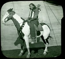 """Lantern Slide Photograph of Native American Sioux Indian """"Ben Boat Nail"""", c.1900"""