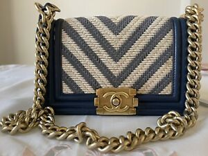 Authentic Chanel Le Boy Bag Small Blue And White Tweed Receipt Box