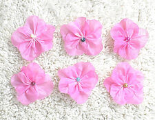 Fabric Flowers--- Hand Made  3 to 4 cm in Diameter---You get six flowers-