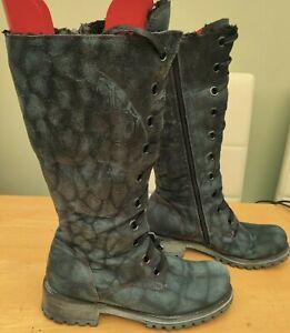 Funky animal print blue leather knee length boots size uk 7 eu 40 us 9