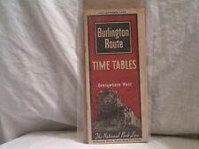 JUNE-SEPT 1943  BURLINGTON ROUTE TIME TABLE