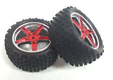 06026 1/10 Scale Off Road RC R/C Buggy Rear Wheels and Tyres x2 Red Chrome