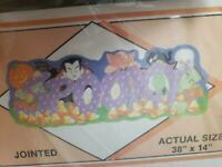 """NOS Vintage Halloween 1988 Flocked """"SPOOKY"""" Jointed Banner - Peck- MADE IN USA"""