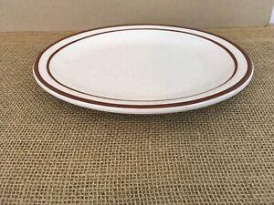 """Rego E715-21 Brown Rim Speckle 11 3/8"""" Restaurant Ware Oval Serving Dinner Plate"""