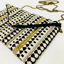 NEW LOOK Beige Black & Gold Embriodered Beaded Small Bag Chain Strap