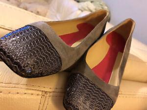 KATE SPADE New York  Authentic Grey Suede Sequin Ballet Flats Sz 8