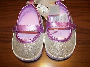 Carter's Child Mine Purple Silver Glitter Dress Shoes Infant 0 / 3 Months NWT