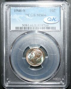 MS66 1946 S 10C Roosevelt Silver Dime PCGS Lime Green-Blue Toned NICE QA Approve
