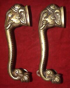 Golden Brass Ganesha Handle With Karigaari Lord Binaka Designer Door Handle EK06