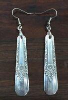 Antique Vintage Spoon Oneida La Rose Earring Silverware Plate Jewelry