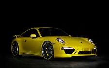 Incorniciato stampa-PORSCHE 911 SUPERCAR GIALLO (foto poster arte AUTO FERRARI AUDI)