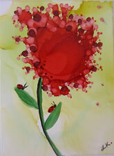 Aceo Original painting red pink flower ladybugs by L Kohler