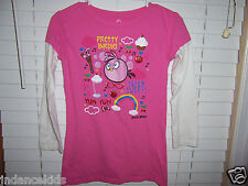 "Angry Birds Girl's Shirt Size XL Pink ""Pretty Birdie! Yum Super Sweet! Cute"""
