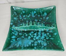 Mid Century Ashtray Pottery Large Green Turquoise Drip Glaze Vintage Ceramic
