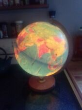 "12"" Replogle World Horizon Series Light up Globe Lamp Illuminated MCM Wood Base"