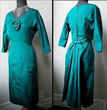 50s Vtg. Haute Designer Glamour FishTail Silk Faille Batwing Cocktail Dress