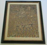 MUSUEM QUALITY BALI PAINTING FOLK ART MASTER LARGE VINTAGE TROPICAL VILLAGE ART