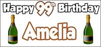 Champagne Bottle 99th Birthday Banner x 2 Party Decorations Mens Womens Adult
