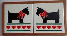 Scottish Terrier Scottie Dog Love Hearts Unique Tile Hand-Painted 1986 Usa