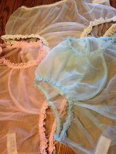 Vintage Style Trio (3)sheer NYLON PANTIE Long Wide Double GUSSET Bikini W/ Lace