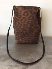 Leopard Print Shoulder Bag Small Purse Tote in Shimmery Brown and Black