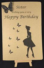 Personalised & Hand Made Ladies, Womens, Girls Birthday Card Sister, Girlfriend,