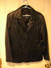woman's WILSON leather jacket (MAXIMA)--black--lined--EUC