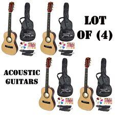 "Lot of (4) Sets Pyle 30"" Beginner's Acoustic Guitar W/ Strap/Picks/Tuner & Case"